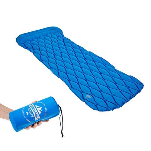 Lumaland Outdoor Esterilla para Camping colchoneta para Dormir colchoneta Inflable para Tienda de campaña 188 x 60 x 6 cm con Almohada Azul