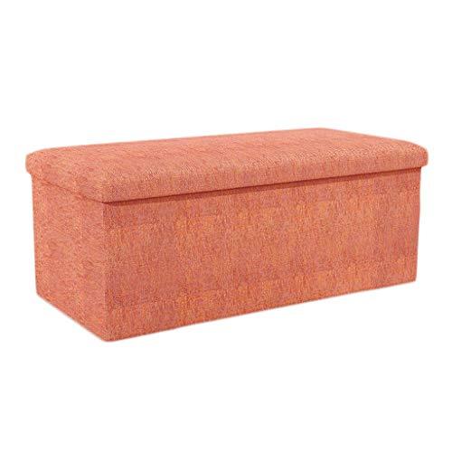 LINGZHIGAN Ménage Pouf Pliable Coton Rangement Tabouret Boîte De Stockage -Poids Maximum 100 kg -76 * 38 * 38cm LINGZHIGAN (Color : Orange)
