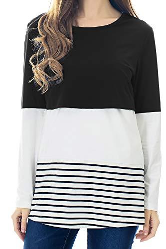 Smallshow Damen Langarm Pflege Bluse Spitzenborte Streifen Still-Shirt Black M