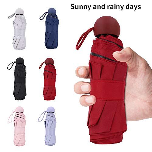 Enchain888 Paraguas Plegable, Mini Cápsula Portátil Paraguas Protección UV Paraguas Plegable a Prueba de Viento Ultra Ligero Protector Solar Vinilo Plegable Paraguas (Rose)