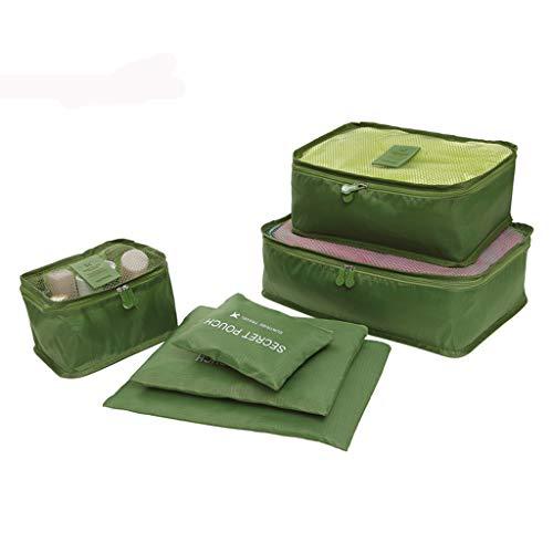 Yowablo Ultraleichte 6-teilige Packwürfel Reisegepäck-Organizer Wäschesack (6Stck,Grün)