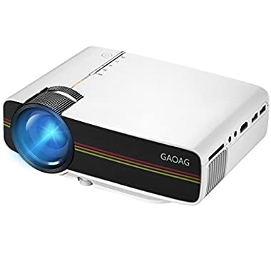 GAOAG Projector Portable Video + 20% Lumens Multimedia Home Theater Movies Projector Support HDMI VGA AV USB 1080P MicroSD for TV, Laptops, Party, Games and iPhone iPad Android Smartphones