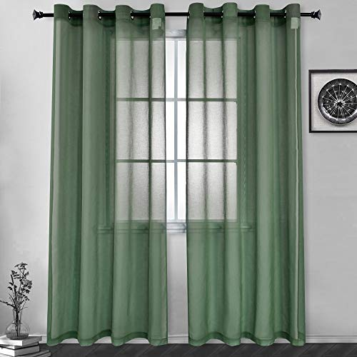 HUTO Faux Linen Sheer Curtains Voile Grommet Semi Sheer Curtains for Bedroom Living Room Set of 2 Curtain Panels 52x84 inch Midnight Green