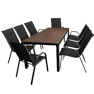 Multistore 2002 9tlg. Gartengarnitur Aluminium Gartentisch, Tischplatte Polywood, Braun, 205x90cm + 8X Stapelstuhl…