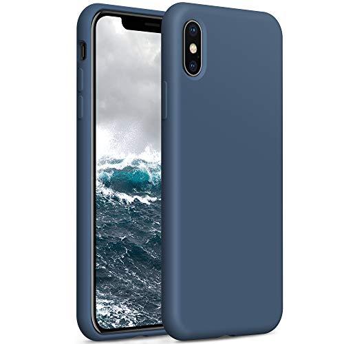 YATWIN Compatibile con Cover iPhone X 5,8'', Compatibile con Cover iPhone XS Silicone Liquido, Protezione Completa del Corpo con Fodera in Microfibra, Blu Notte