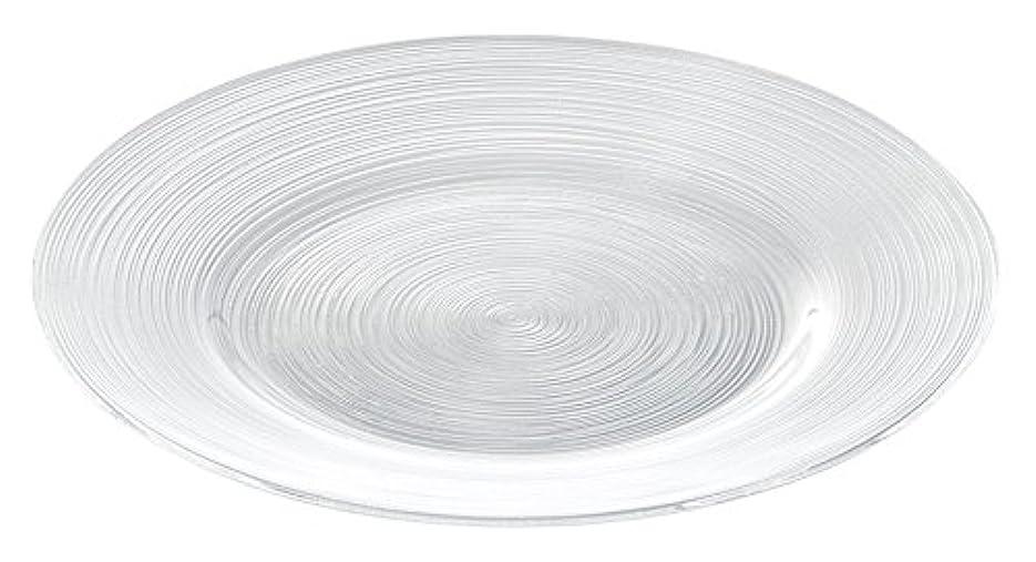宿る間接的イブニング細いラインが美しいガラス食器イマージュ リムプレート27cm