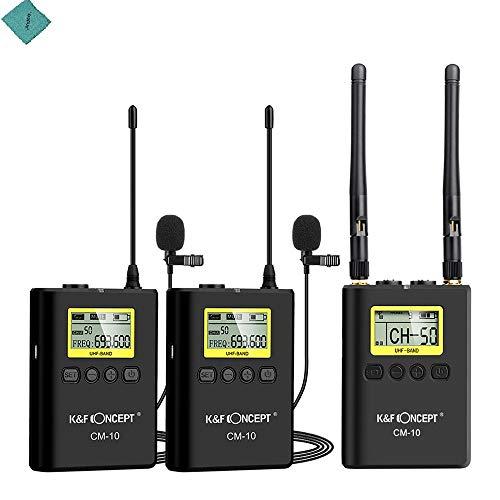 K&F CONCEPT Grabación de Video inalámbrica Profesional Sistema de micrófono de micrófono de Solapa lavalier (2 transmisores + 1 Receptor) Micrófono omnidireccional de Dos Canales UHF