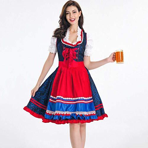 ZZFF Mujeres Oktoberfest Traje,señorita Cerveza Chica Nena Bávaro Dirndl Vestido,Uniforme De Halloween,Vestido De Fiesta Traje Delantal,más-tamaño A M