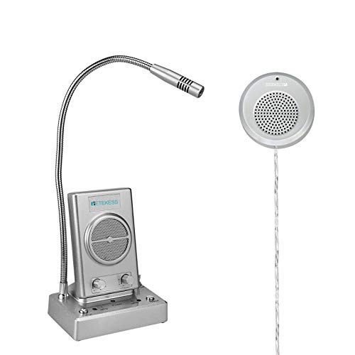 Retekess TW102 Window Intercom,8M Cable with Outer Speaker,Loud Speaker,Connect Wireless Mic,Intercom System for Office,Hotel,Museum,Medical Center