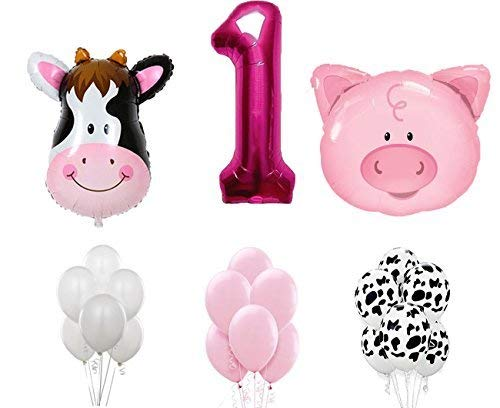 First Birthday Farm Animal Theme Balloons for Baby Girl Party Decoration. 36 Cow & Pig with 12 Helium Quality Latex Balloons White, Pink and Cow Print Balloons with The Number1 Pink foil Balloon