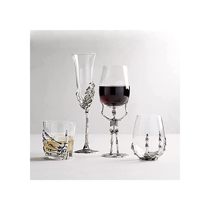 Gpmyybd Skeleton Wine Glass Spooky Skeleton Halloween Skeleton Ghost Hand Claw Party Cups Halloween Red Wine Glass Whiskey Cup Party Bar Drinkware With Skull Base A