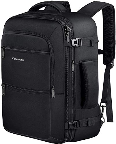Travel Backpack, 40L Expandable Carry On Backpack for Men, Flight Approved Weekender Backpack, Water Resistant Luggage Backpack for Outdoor,Expandable Extra Large Business Backpack for Men Women,Black