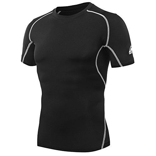 AMZSPORT Herren Kompressions-Shirt Kurzarm Funktionsshirts TOP Schwarz L