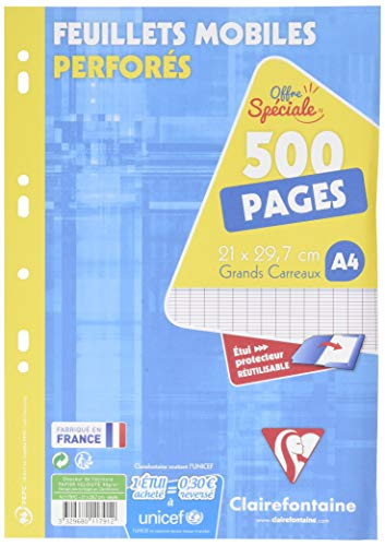 Clairefontaine 11791c Loseblatt-Einlage gelocht groß Seyes kariert 500 Blatt inkl. A4-Terminplaner (frz. Modell)