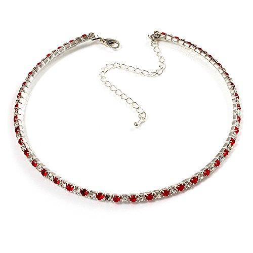 Collana girocollo sottile in cristalli austriaci (trasparenti e rosso fuoco)