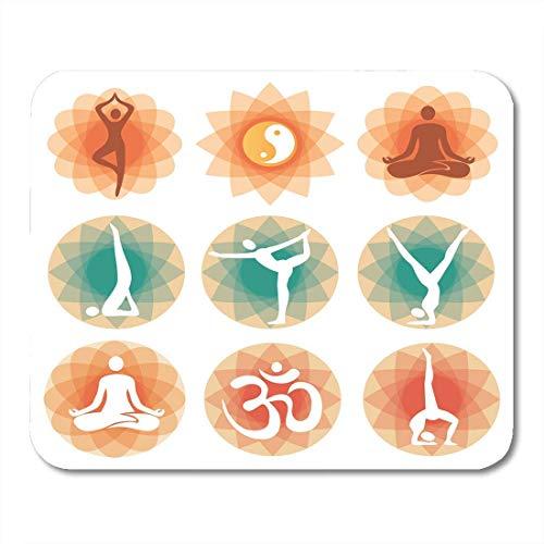 Mauspads Therapie Orange Zen Abstract mit Yoga Symbolen und Positionen White Guru India Mauspad für Notebooks, Desktop-Computer Mausmatten, Büromaterial