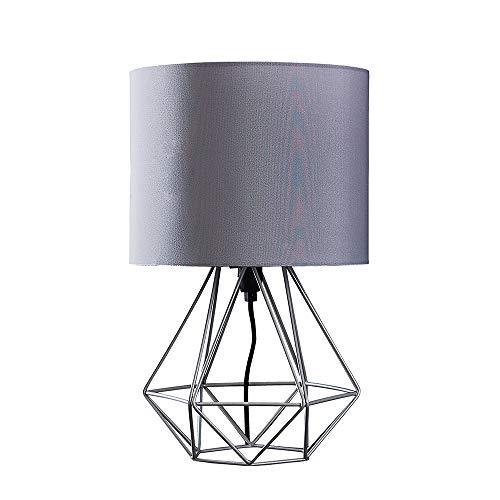 MiniSun - Moderna Lámpara de Mesa Escandinava – Innovadora Base de Estilo Jaula en Gris - Pantalla Tela Gris