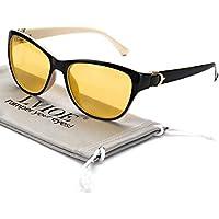 LVIOE Gafas de conducción nocturna para mujer Lente amarilla polarizada antideslumbrante Protección 100% UV (Marco blanco)