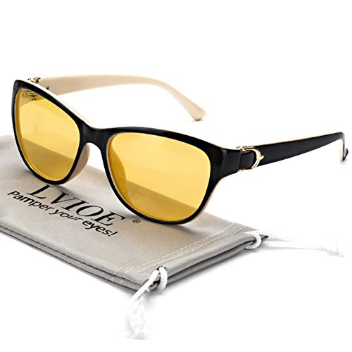 LVIOE Nachtsichtbrille mit polarisierten gelben Gläsern Anti Glare Womens Nachtsichtbrille für Regen/Nebel/Bewölkt 100% UV-Schutz (Weißer Rahmen/Gelb)