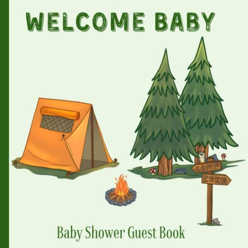Baby Shower Guest Book Welcome Baby: Camping Adventure Awaits Theme Decorations | Sign in Guestbook Keepsake with Address, Baby Predictions, Advice for Parents, Wishes, Photo & Gift Log