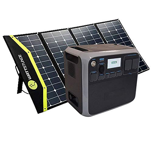 Kirron AC200P Powerstation 2000 Wh/2000 W + Solartasche Sunfolder 200W I 230 V Powerbank Steckdose I Notstromaggregat mit AC DC-Port PD Type-C und USB Anschlüssen I Stromspeicher Camping & mehr