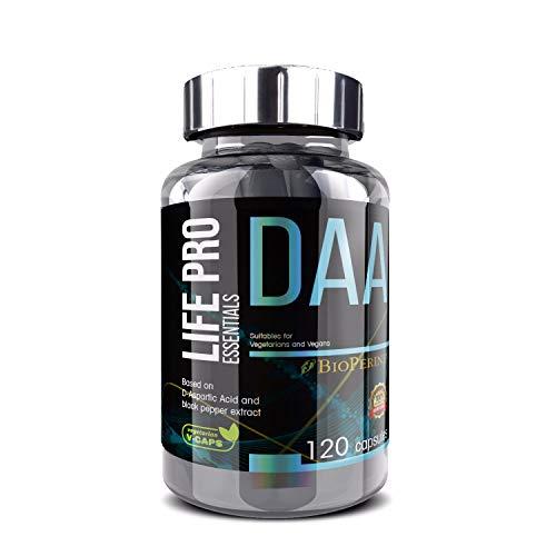 Life Pro Essentials DAA Ácido D-aspártico 750mg 120 Cápsulas | Suplemento Crecimiento Muscular, Acelera Metabolismo, Aporta Energía, Apto para Dietas Veganas