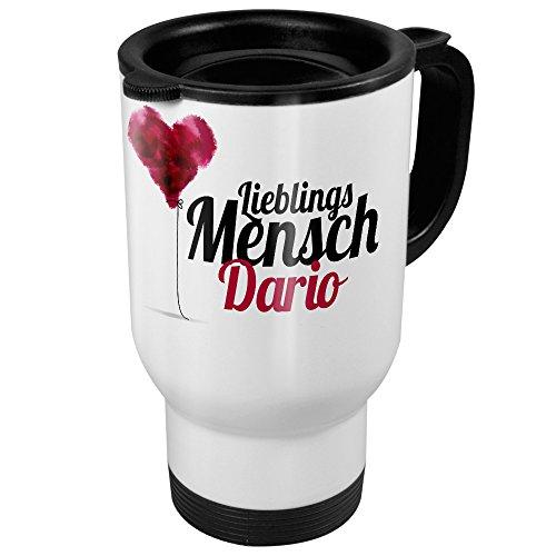 printplanet Thermobecher weiß mit Namen Dario - Motiv Lieblingsmensch - Coffee to Go Becher, Thermo-Tasse