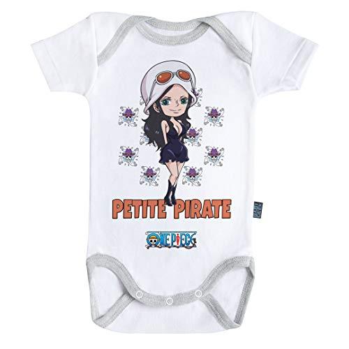Baby Geek Petite Pirate Robin - One Piece ™ - Licence Officielle - Body Bébé Manches Courtes (3-6 Mois)