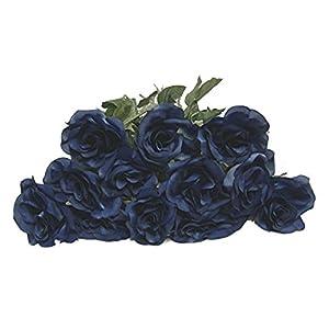 20″ Single Open Rose Artificial Silk Wedding Craft Flowers Home Decor (Dozen)