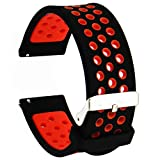 Veczom for Galaxy Watch 42mm Bands, Galaxy Watch 3 41mm Band, 20mm Silicone Replacement Bands Compatible with Samsung Galaxy Gear Sport, Galaxy Watch Active for Women Men Gift (Black Red, 20mm)