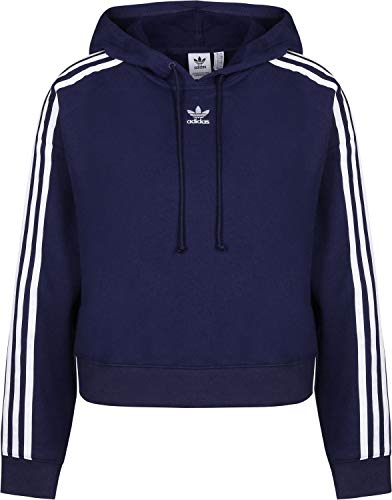 adidas Damen Cropped Hooded Sweatshirt, dunkelblau, M (Manufacturer size:50)