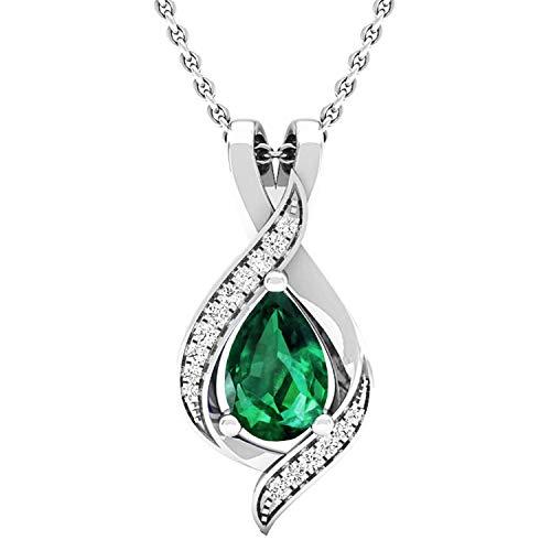 DazzlingRock Collection - 18 Karat Weißgold Birne Green Weißer Diamant Smaragd (künstlich)