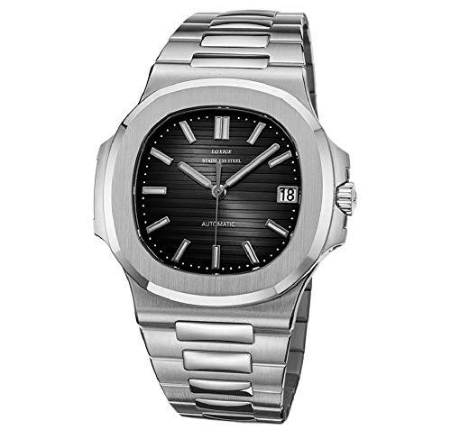 Sportlich Elegante Herren Automatik Uhr Modell Nautiker, entspiegeltes Glas, massives Armband, 2813 Uhrwerk, Silber/schwarz
