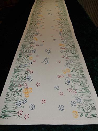 Tischläufer Blumenwiese mit blauen Libellen handbedruckt Ostern