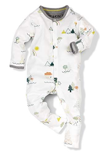 Kit & Kin All-in-One Baby-Einteiler, natürlich weich, 100% Bio-Baumwolle, Unisex-Design Gr. 86, Welt