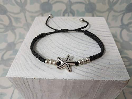Pulsera macrame estrella zamak, artesanal, hecha a mano, regalo del dia de la madre, para mama
