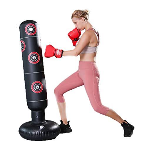 Aufblasbarer Boxsack, 61In PVC Sandsack Aufblasbarer Boxsack Training Fitness Hit Freistehende Säule Becher Boxsack Erwachsene Kinder