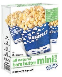 Great Features Of All Natural - 8pk Bare Butter Mini Bags Microwave Popcorn -3Lbs