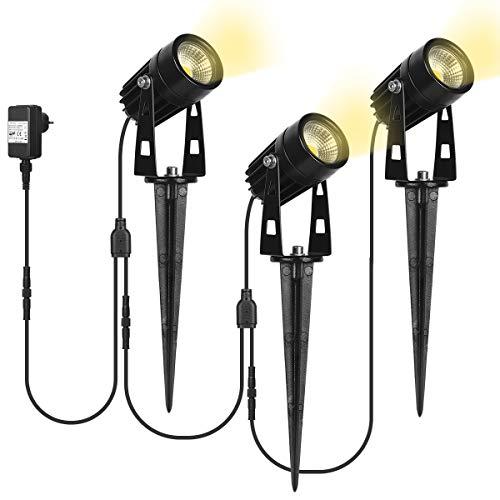 SanGlory 3er Set Gartenstrahler LED mit Erdspieß, 3W LED Gartenleuchte mit Stecker 12V, IP65 Wasserdicht Gartenbeleuchtung LED Warmweiß Außen-Strahler Außenlampe für Garten (3er Gartenleuchten)