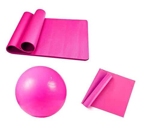 Multifunctionele combinatieset yogamat, yogabal, spanband, geschikt voor yoga, pilates, fitness, gebruik buitenshuis, yogamat + spanband + yogabal, 185 x 61 cm