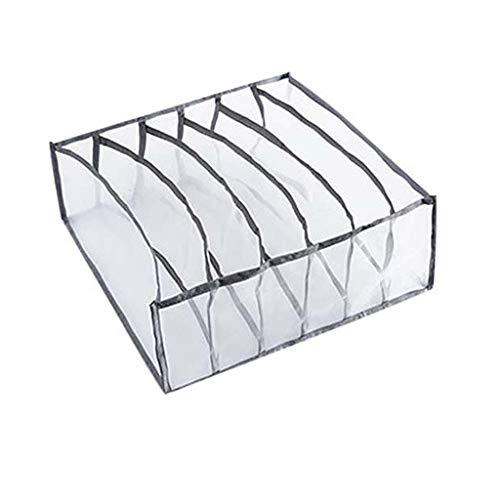 Asalinao Unterwäsche Aufbewahrungsbox mit Fächern Socken BH Unterhosen Organizer Schubladen (Grau)