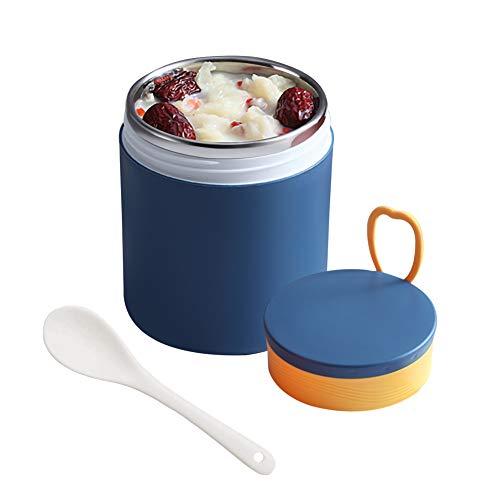 HuiSiFang Termo para Comida 450ml, Acero Inoxidable Termo para Alimentos con Cuchara Plegabl para Adultos Niños Bebe Colegio Trabajo Viaje (Azul)