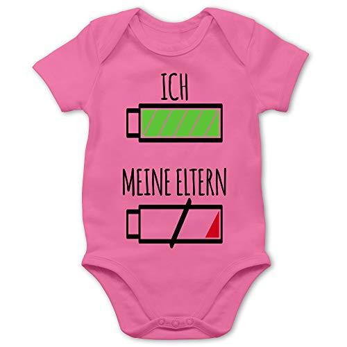 Shirtracer Strampler Motive - Ich und Meine Eltern Batterie - 1/3 Monate - Pink - Baby Batterie Eltern - BZ10 - Baby Body Kurzarm für Jungen und Mädchen