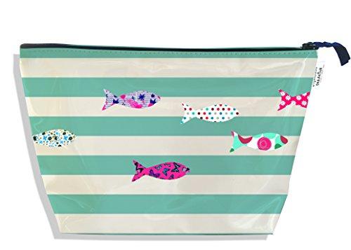 Trousse de toilette pour femme Motif marinière menthe poissons multicolores Réf. 3148-2017