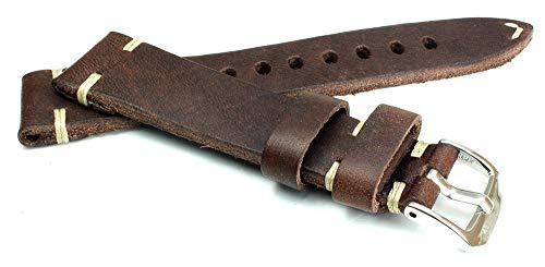 RIOS 1931 19mm Herren Leder Deutsch Uhrenarmband Vintage Weiße Naht dunkel braun