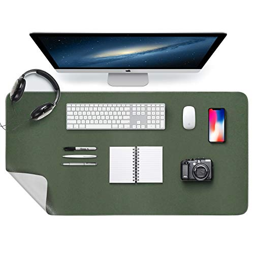 """MTOUOCK Desk Pad, Office Desk Mat, 31.5"""" x 15.7"""" PU Leather Desk Blotter, Dual-Sided Desk Pad Protector, Upgrade Sewing Desktop Mouse Pad, Waterproof Desk Writing Mat for Laptop Pad, Green&Gray"""