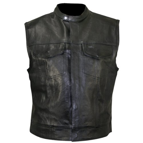 GZM S.O.A. - Chaleco con cuello para hombre (piel), color negro 4XL negro