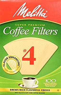 Melitta Cone Coffee Filters Natural Brown #4, 100 Count