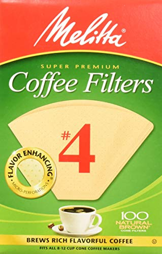 Melitta #4 Cone Coffee Filters Natural Brown #4, 100 Count