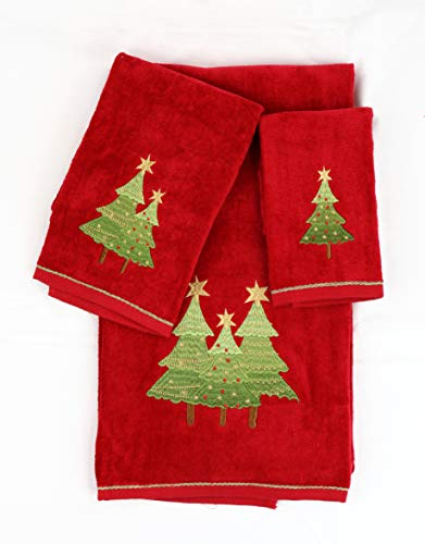 Homefabrics Marina Decoration Christmas Premium Ultra Soft 100% Cotton Embroidered 3 Piece Towel Set, Red Green Color Christmas Tree Pattern (Second is